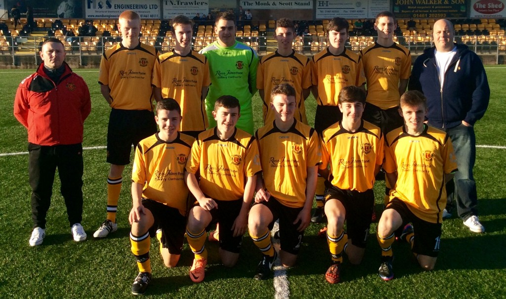 U17 Squad 2014 with Andy Irvine (coach) and Ross Johnstone Sponsor